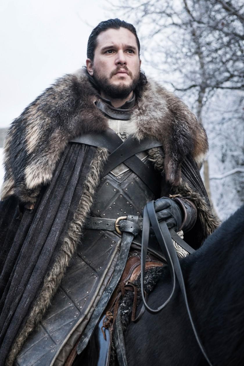 Jon Snow, el personaje que hace el actor británico Kit Harington, en una secuencia de la última temporada de la serie.