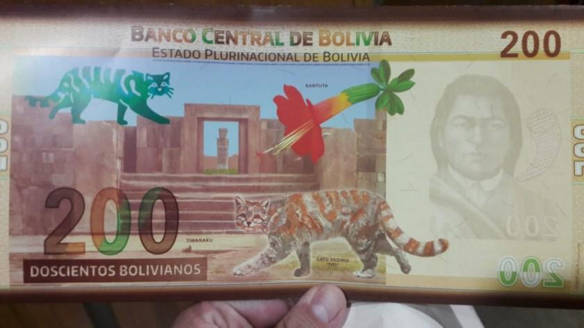 El nuevo diseño del billete de Bs 200. FOTO: Bolivia TV