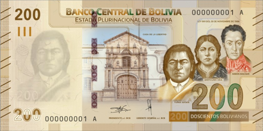 Anverso billete 200 Bs