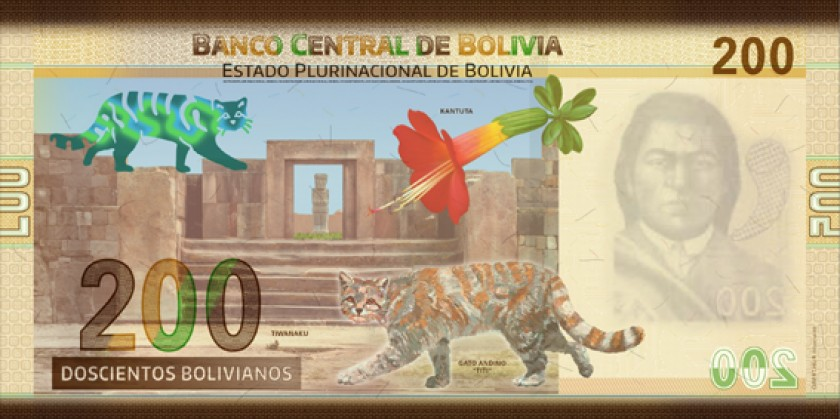 Reverso billete 200 Bs