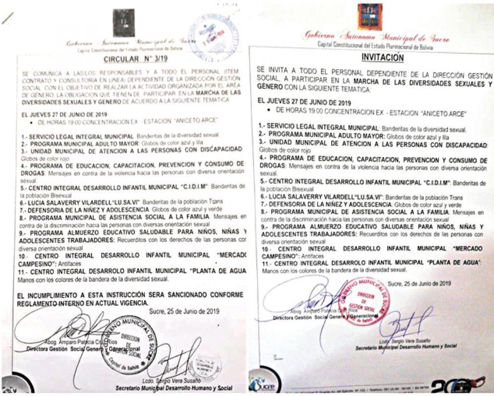 DOCUMENTOS. La circular motivo de polémica y el documento rectificatorio.