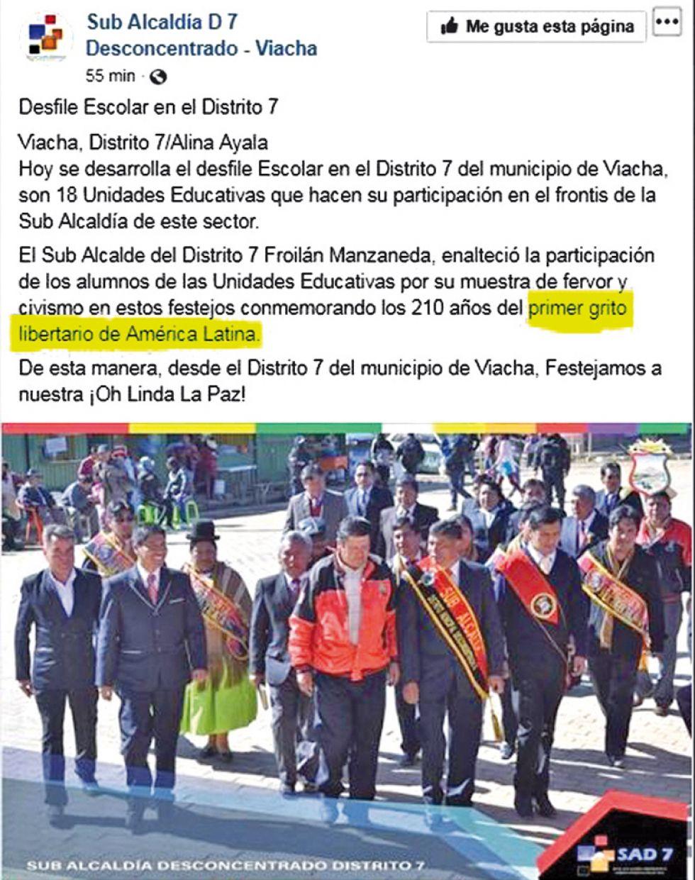 RECLAMO. Felicitaciones por los 210 años de La Paz, en páginas de Facebook.