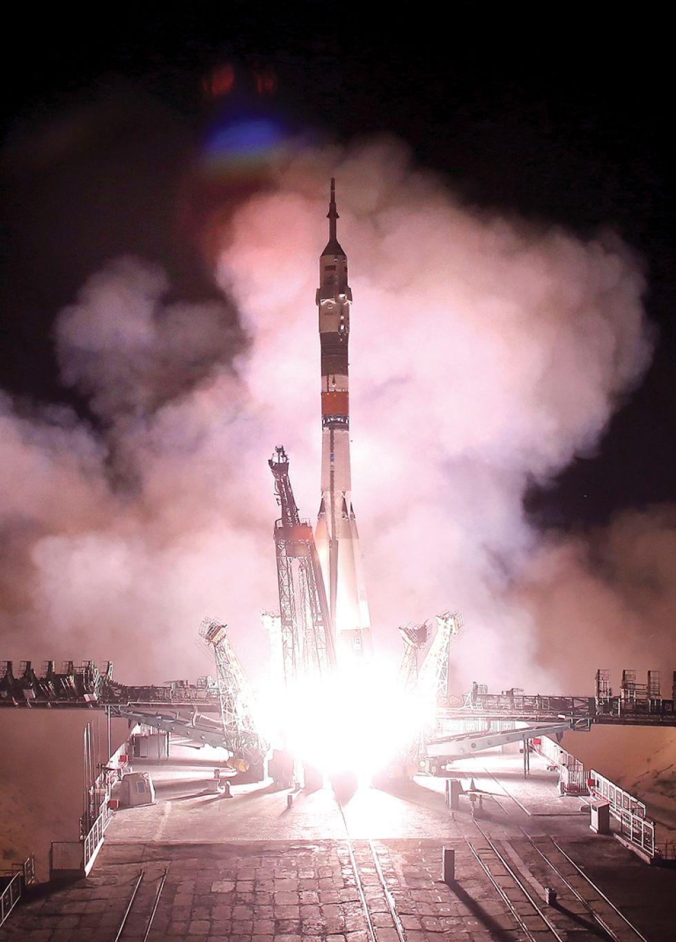 HISTÓRICAS. El despegue de la nave Soyuz, ayer