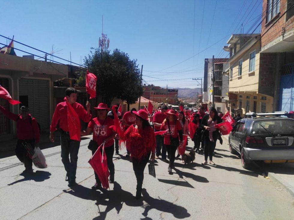 La caravana de Bolivia Dice No, este sábado, en Sucre.