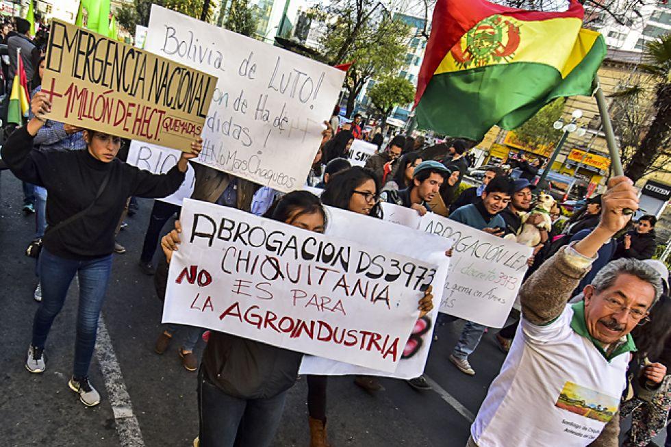 PROTESTAS. Activistas de al menos cinco ciudades del país convocaron a marchas para exigir acciones concretas para salvar a la Chiquitanía.