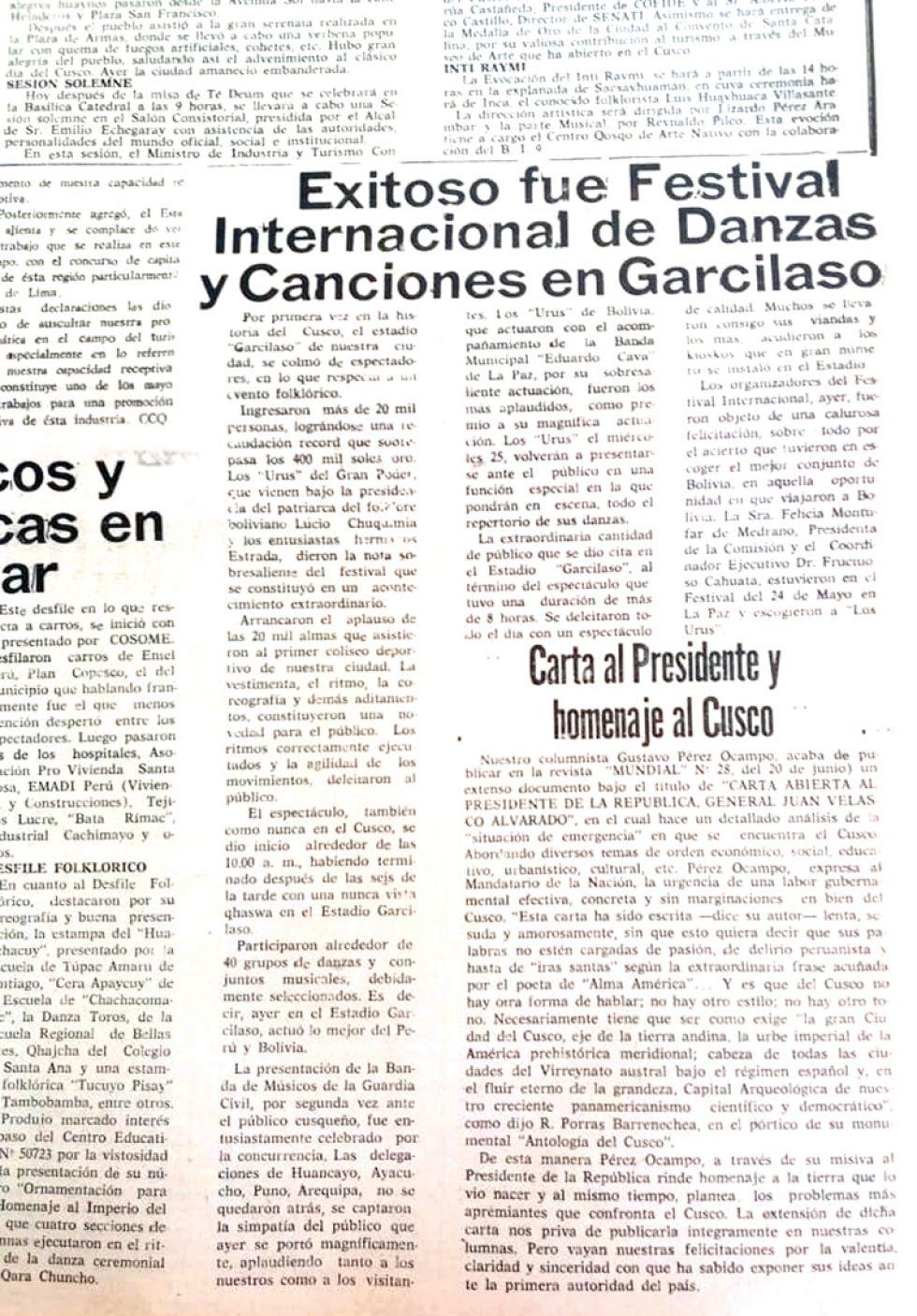 PRUEBAS. Diploma y diario que muestran la participación inédita de caporales bolivianos en Cusco.