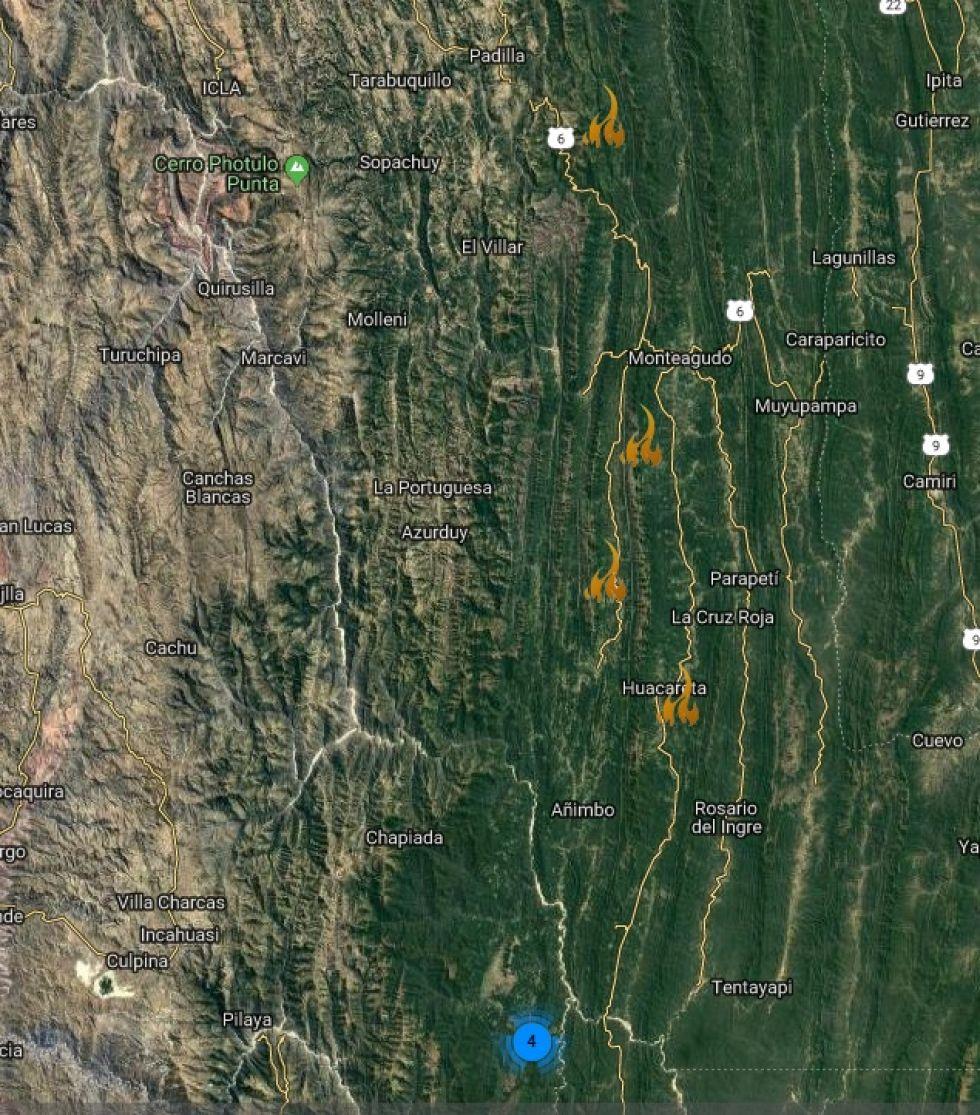 MAPA. Los focos de calor en Chuquisaca.