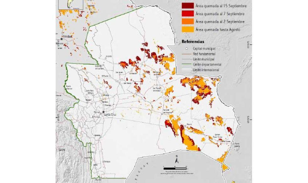 FAN: Se quemaron más de 3 millones de hectáreas en todo el territorio cruceño