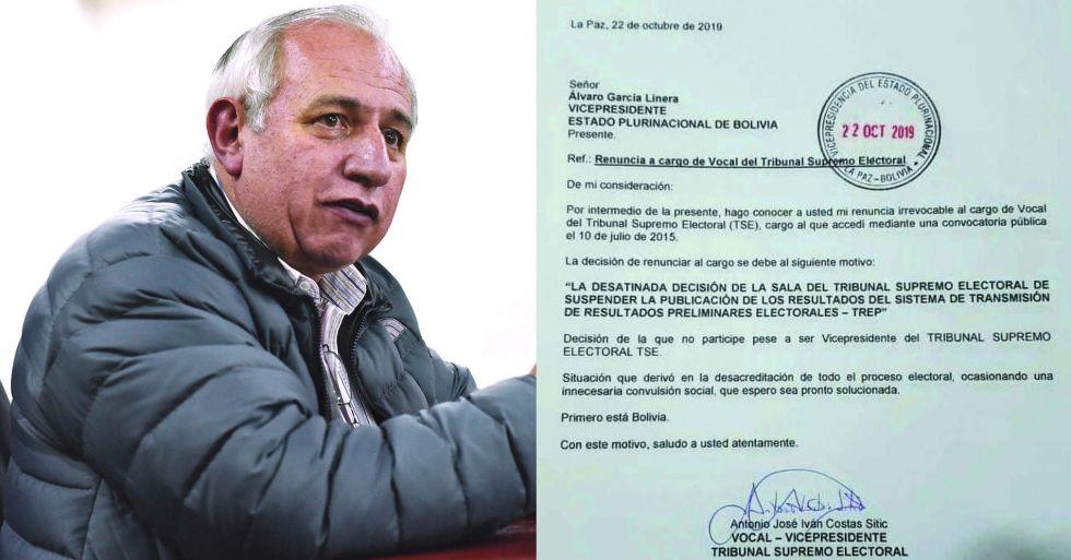 """Costas renuncia y ve proceso electoral """"desacreditado"""""""