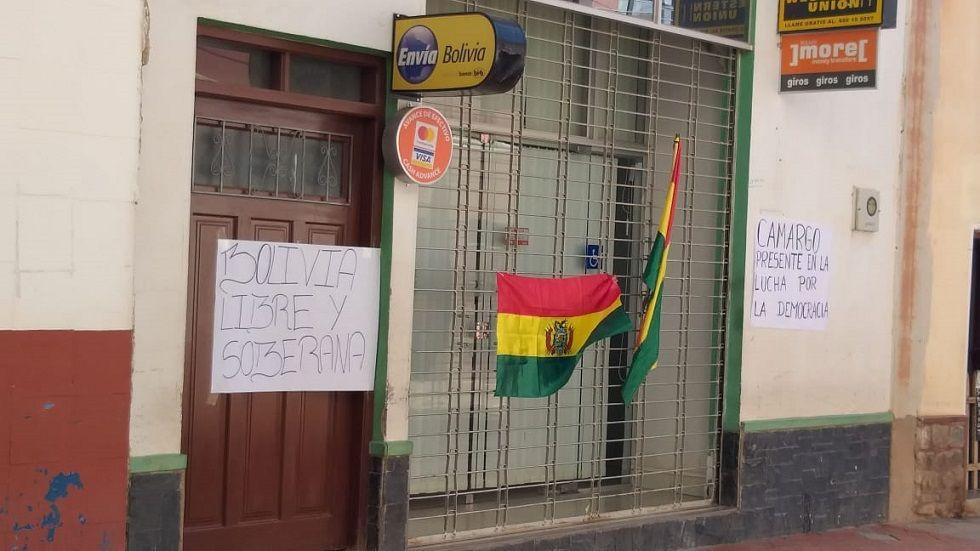 Las sucursales de los bancos en Camargo cerraron sus puertas.