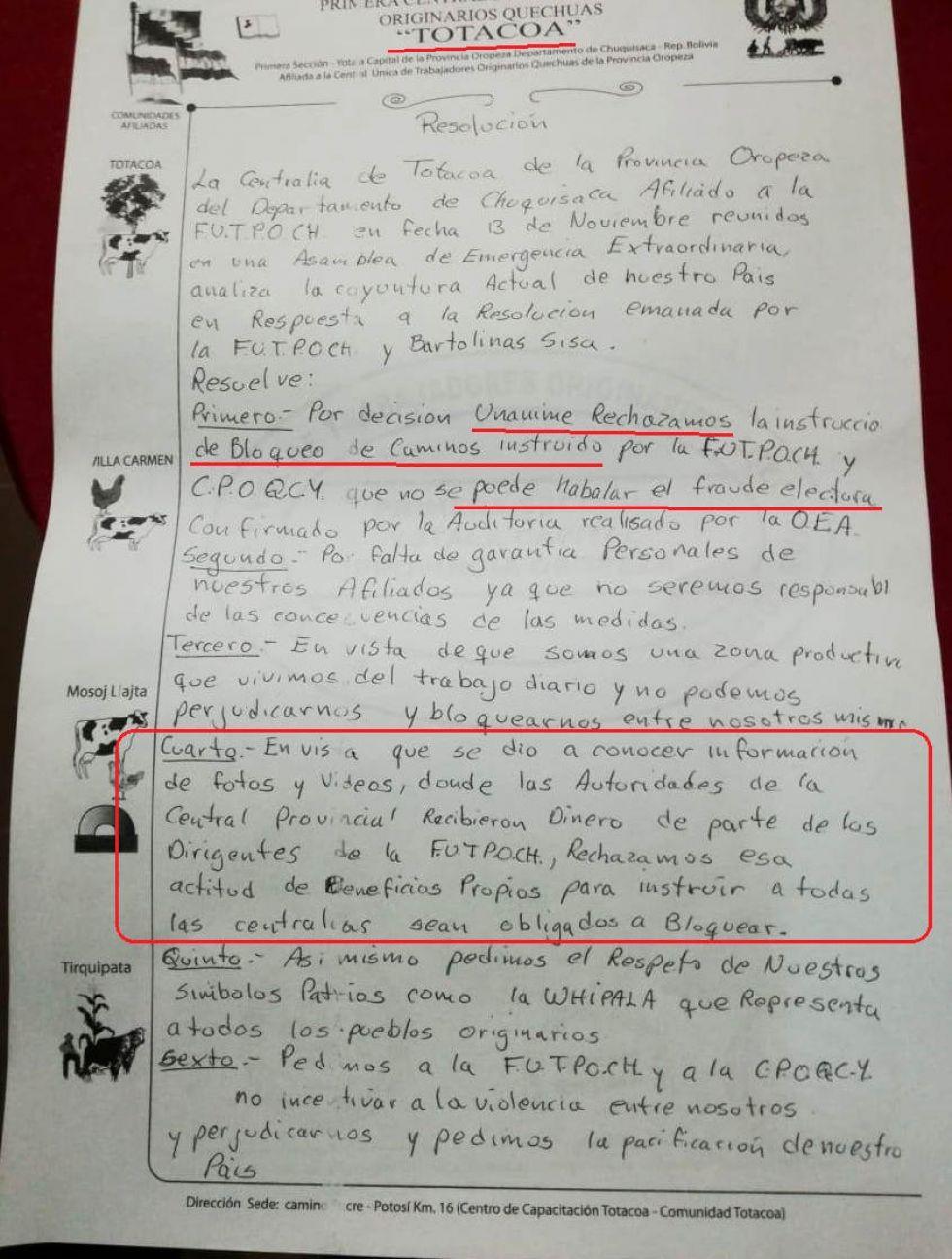 El voto resolutivo de Totacoa del pasado 13 de noviembre.