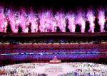 La infaltable pirotecnia sobre el estadio Nacional de Tokio.