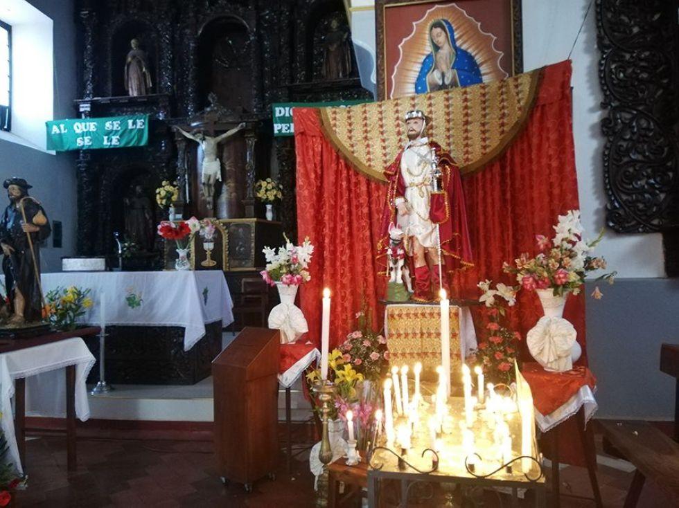 La imagen de San Roque en el templo que lleva su nombre.