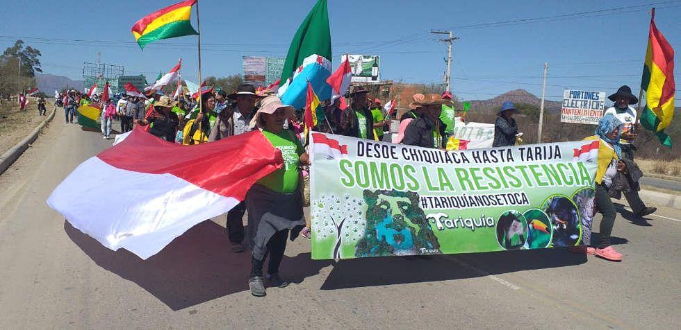Marcha: Comunarios de Tariquía llegan a Tarija