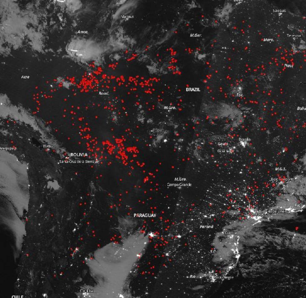 NASA capta imágenes de los focos de calor en la Chiquitanía