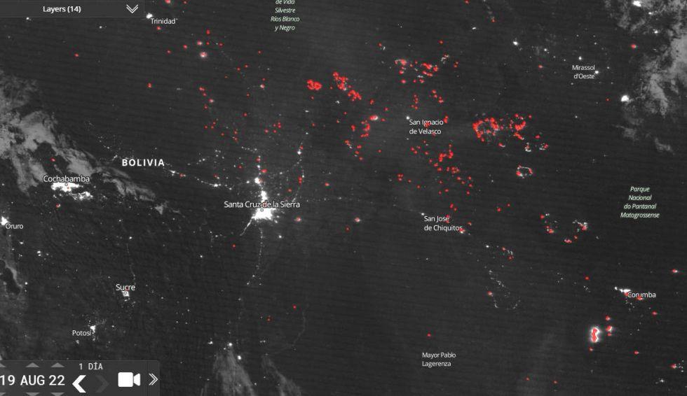 Imágenes satelitales de la NASA en la zona de la Chiquitanía.