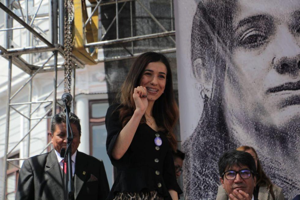 Caminata por la Paz junto con Nadia Murad en Sucre.