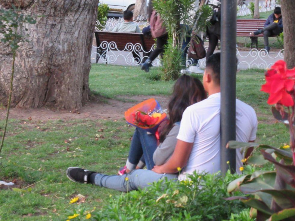 El Rosedal del parque Bolívar fue el punto de encuentro para parejas y amigos.