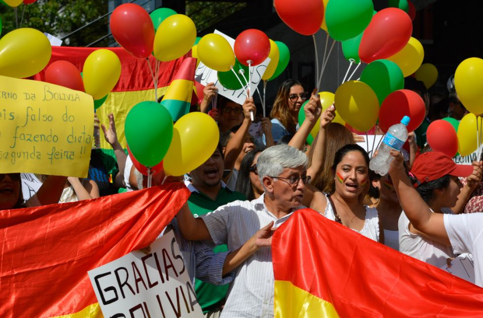 Residentes bolivianos marcharon en Sao Paulo el reciente domingo.