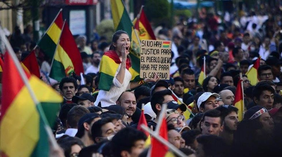 Otra postal de la masiva asistencia al cabildo nacional en La Paz.