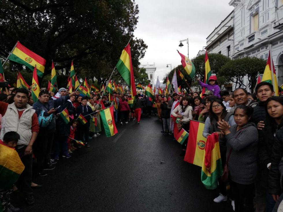 Festejo en Sucre por la renuncia de Evo Morales