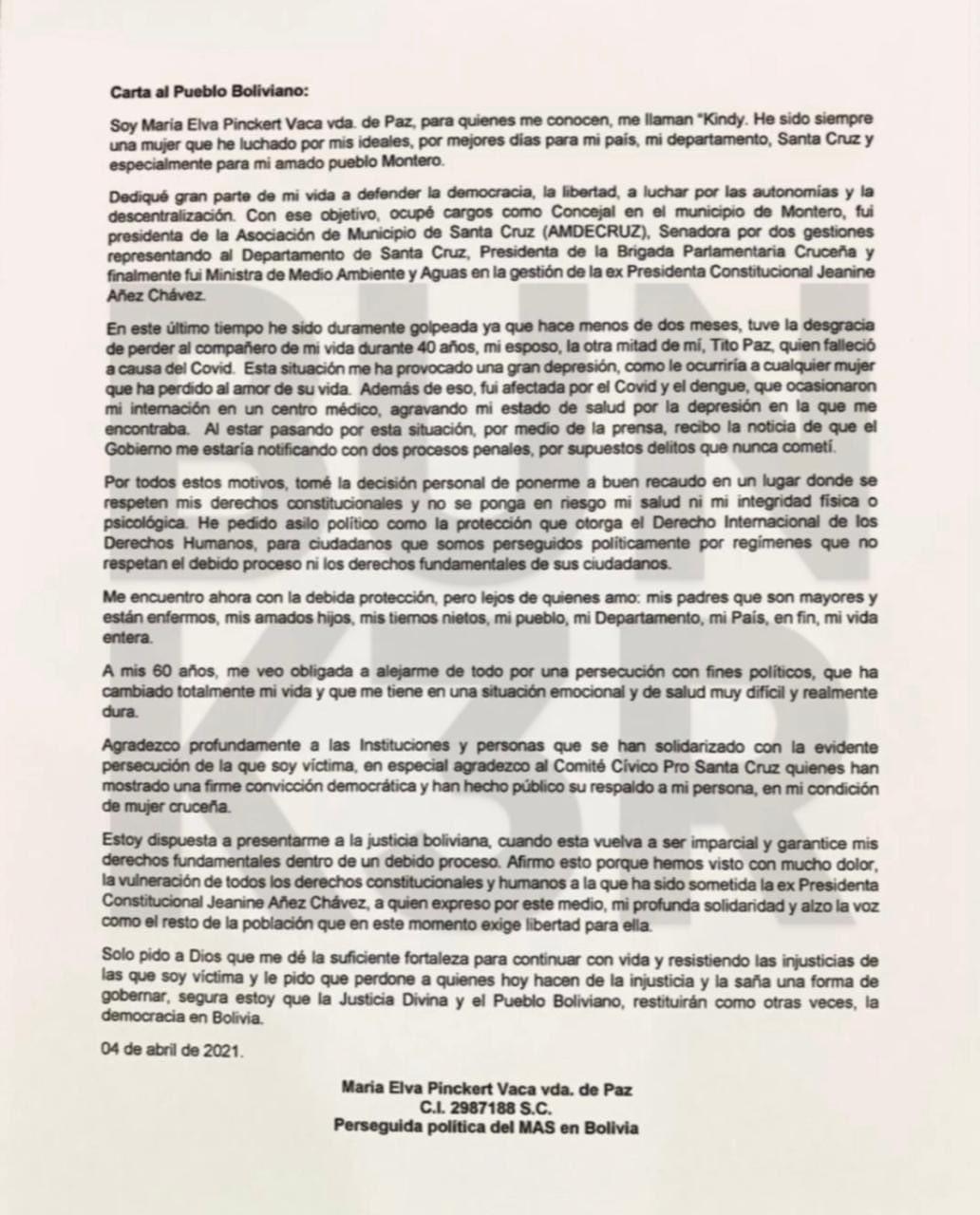 """La exministra Pinckert pide asilo y se declara """"perseguida política del MAS"""""""